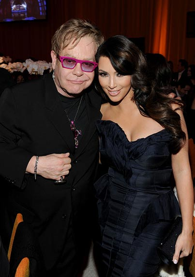 Kim Kardashian and Elton John at 19th Annual Elton John Oscar Party