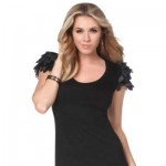 Kardashian Kollection shimmer petal shoulder top